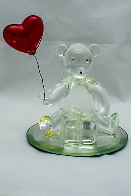 Glass Love Bear with A Red Heart Shaped Balloon