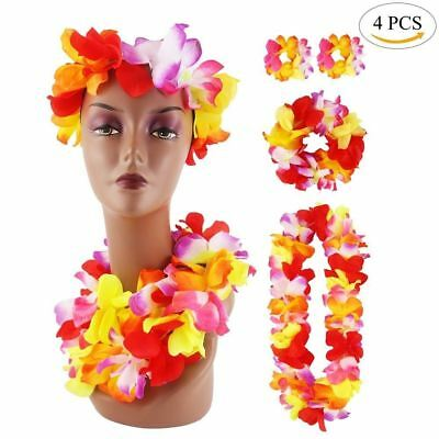 4pcs Hawaiian Set Necklace , Headband , Bracelets Party Fancy Dress Garland