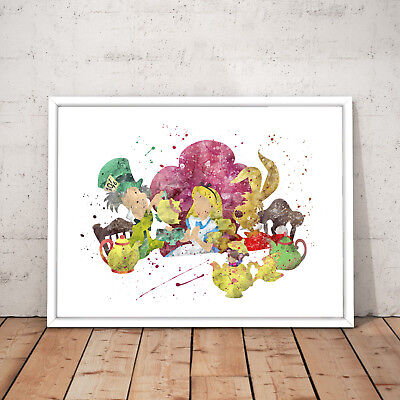 Alice in Wonderland Watercolour Nursery Decor Art Poster Print - A4 to A0 Framed