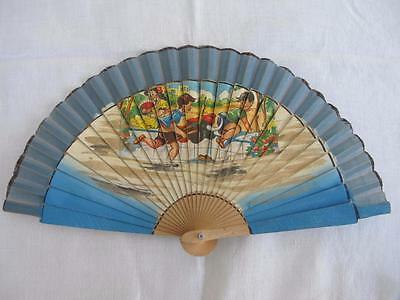 VINTAGE 1940's CHILDREN'S PRINTED WOOD HAND FAN - BOYS PLAYING BULL FIGHTING