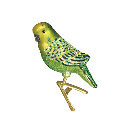 Old World Christmas Green Miniature Parakeet Clip-On Glass Xmas Ornament 18049