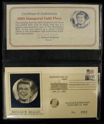 1985 Ronald Reagan Inauguration Day Gold Piece 10K (A048)