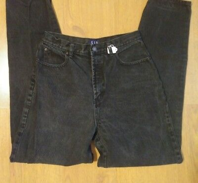Vintage High Rise Tapered Leg GAP Reverse Fit Mom Jeans Black Gray Size 10