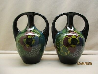 2 Gouda high glossy amphora vases marked Iris, Holland period 1925-1930.