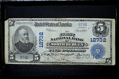 1902 Pb $5 National Bank Note ✪ 1St Ntl Bank North Bergen ✪ Nj 12732 ◢Trusted◣