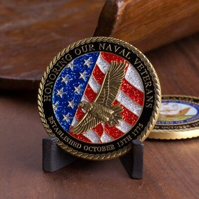 US Navy Veteran Navy Emblem 3D Eagle and US Flag Antique Brass Challenge Coin