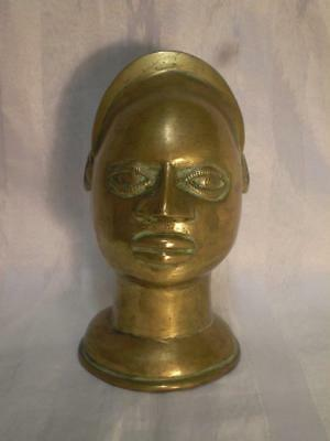 old benin bronze head tribal art