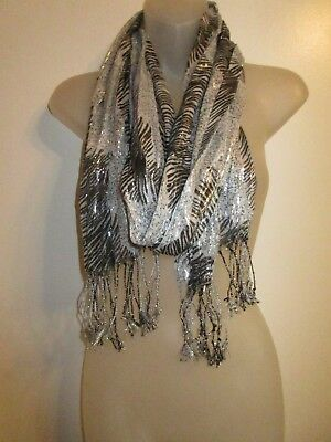 1bf1cba78 Collar Wrap Scarf Metallic Black Gray Silver Knit Fringe Foiled Wet Look  Shiny