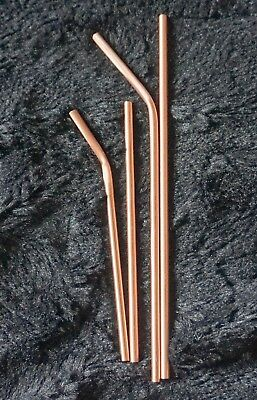Copper Straight/bent  Metal  Drinking Straws  Reusable Eco Straw cleaner slim..