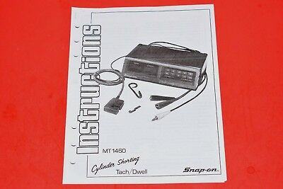 Snap-On Tachometer Dwell Meter Cylinder Shorting Instruction Manual for MT1460