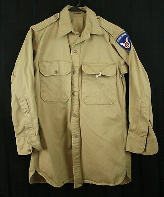 Vintage WWII Era Button Down Shirt Military With Airborne Patch Dated 1946