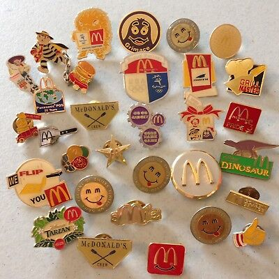 Lot Of 30 Collectible McDonalds Push Back Hat Pins Employee Service Advertising