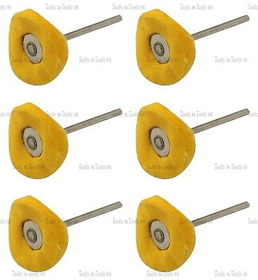 6 x Yellow Mop Brush Felt Cloth Polishing Rotary Drill Bit Wheels Buffing Pad