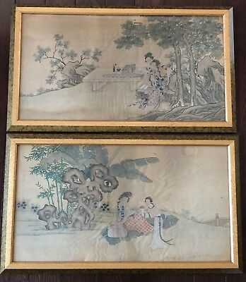 Pair of Fine Antique 19th C Chinese Silk Pantings of Two Women - Framed