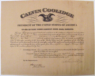 1924 Calvin Coolidge Signed Appointment of Johnstown, NY Postmaster