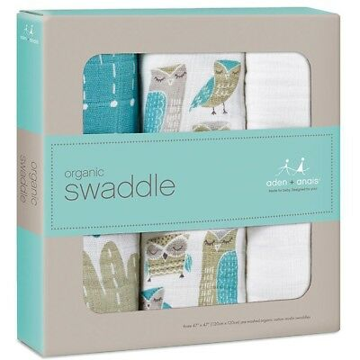 New Aden + Anais Wise Guys Teal Organic Cotton Soft Baby Swaddle Blankets 3 Pack