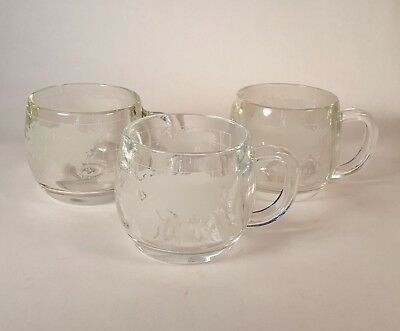 Nestle Globe Mugs Set of 3 Vintage Nescafé World Atlas Etched Glass Coffee Cups