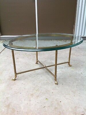 Vintage Brass and Glass Hoof Foot Oval Italian Labarge Style coffee table