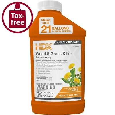 Weed Grass Killer Concentrate Lawn Care Garden Rain Proof Glyphosate HDX 32 oz.