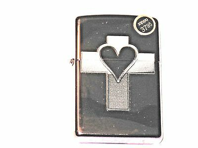 New ZIPPO Windproof Lighter 13118 Heart Cross Abyss Jesus Loves You Purple Case