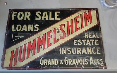 Antique Tin Sign Hummelsheim real estate  sign Painted Litho Tin check pics
