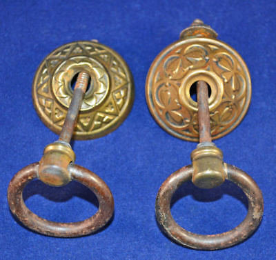 Brass Victorian Drawer Pulls     Vintage Antique Condition     Found In Late 180