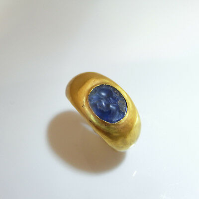 2ND C AD ANCIENT ROMAN Blue Sapphire Intaglio Signet Seal Ring 22K Unisex Mens