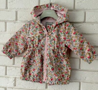 Next Baby Girl Floral Multi Print Parka Style Raincoat Age 6-9 Months
