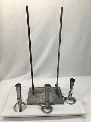 3 Bunson Burners (2) FISHER 1201-21 (1) Humboldt 6200.1 With Stand Marked LC12
