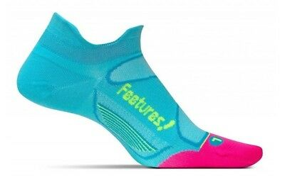 Feetures Elite Ultra Light No Show Tab Running Socks - Sky Blue/Reflector-S M L