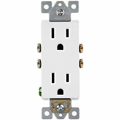 Decorator Receptacle Self Grounding Residential Grade Outlet 2 Pole 125VAC 15A