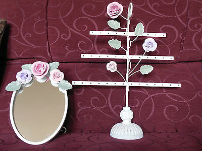 Rustic,White, Metal, Oval Vanity/Desk Mirror & Matching Jewellery/ Earring Stand