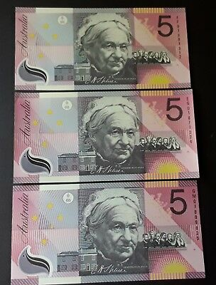 3 x $5  Federation 2001 McFarlane Evans General  prefix  uncirculated banknotes,