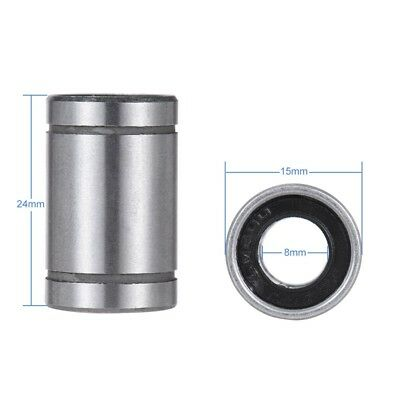Ball Bushing Linear Motion 8mm x 15mm x 24mm Double Sealed 10 Pcs F8E1 FS
