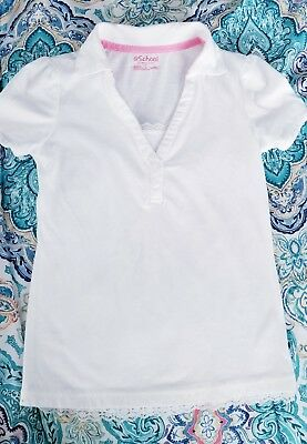 French Toast School Uniform Girls Short Sleeve Polo Shirt Lace Trim Size 7/8 Med
