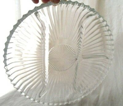 WM ROGERS? Replacement divider Glass Dish for Silver Plated Tray~Relish Plate