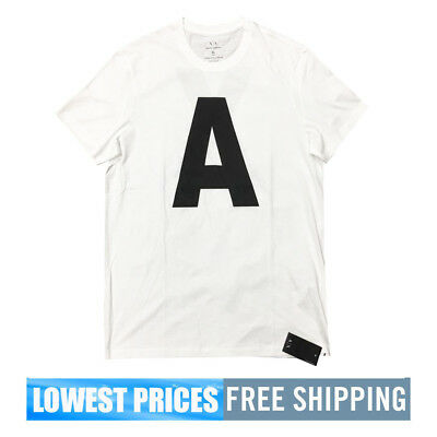 Back Front Design White A Men's amp; Exchange Crew Neck Armani X Nwt 7B8qBH