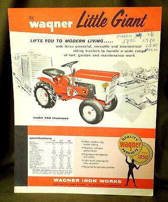 Vintage Brochure Sheet The Wagner Little Giant Riding Tractor: Milwaukee 1, Wis.
