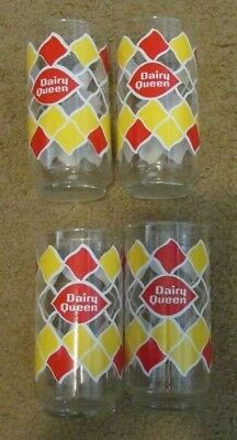 """Set of 4 Vintage 70'S DAIRY QUEEN LOGO DIAMOND SHAPES  TALL GLASS ~ 5.5"""" TALL"""
