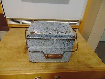 antique granite ware  lunch box   nice  # 4173