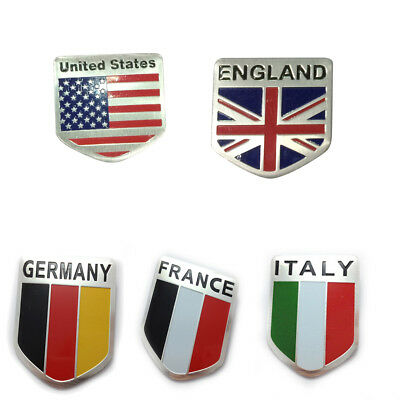 1pc Door Fender Tailgate Metal Flag Emblem Shield Style Sticker Badge For Auto