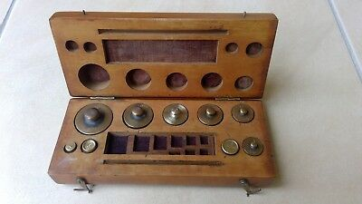 Solid Timber Boxed Set of Brass Weights