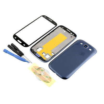 Replacement Full Housing Case Screen Glass Repair For Samsung S3 i9300 Blue