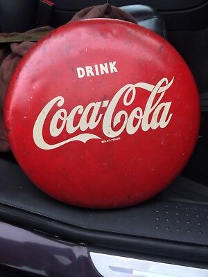 "RARE ORIGINAL 1940s-1950s DRINK COCA-COLA 12"" BUTTON METAL ADVERTISING SIGN COOL"