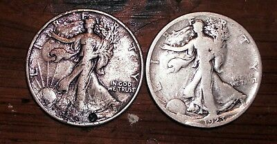 Lot of 2 Walking Liberty Half Dollars --1 1923-s and 1 with unreadable date