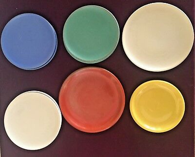 Lot of 9 Catalina Island Pottery Small Dessert Plates - Blue, Green, Red, Yellow