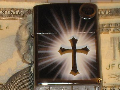 New ZIPPO USA Windproof Oil Lighter Reflective Cross Hp Chrome Case 11432 Jesus