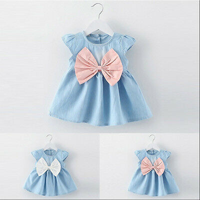 Newborn Kid Baby Girl Summer Tutu Dress Princess Party Wedding Bowknot Dresses