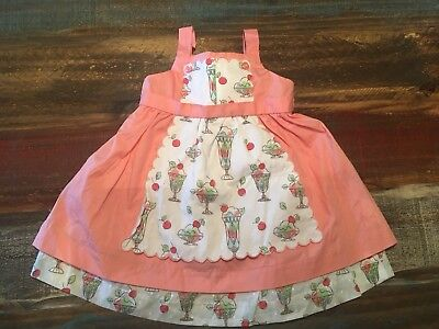 Janie and Jack Apron Ice Cream Pink Dress 100% Cotton NWT 0-3 Months