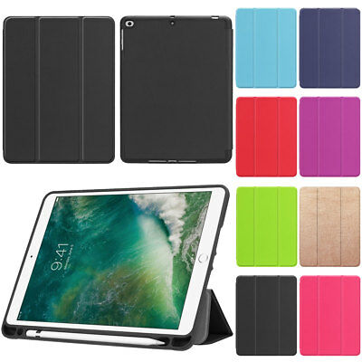 For iPad New 9.7 2018 6th Gen 2017 5th Gen Smart Leather Case with Pencil Holder